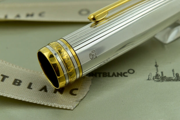 Montblanc Meisterstuck 146S Solitaire Sterling Silver LeGrand Fountain Pen B Nib-Montblanc-Truphae