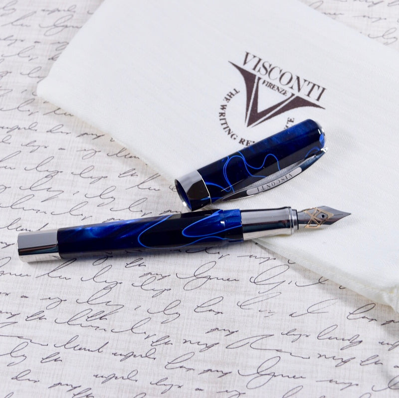 Visconti Opera Special Edition Vertigo Black & Blue Swirl Pattern Palladium Trim Fountain Pen