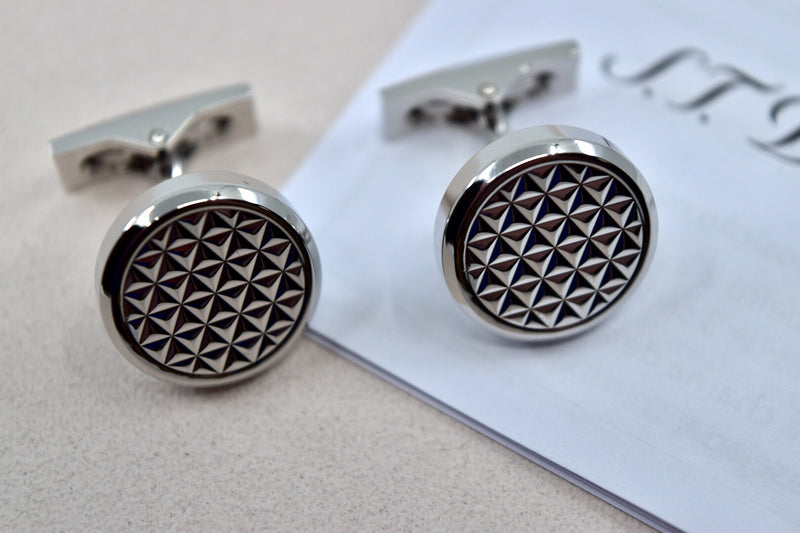 ST Dupont Fire Head Palladium Finish Round Cufflinks Set ST005723
