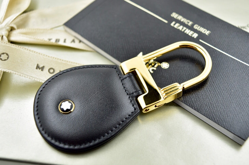 Montblanc Meisterstuck Full Grain Black Leather Gold Plated Key Fob Keyring