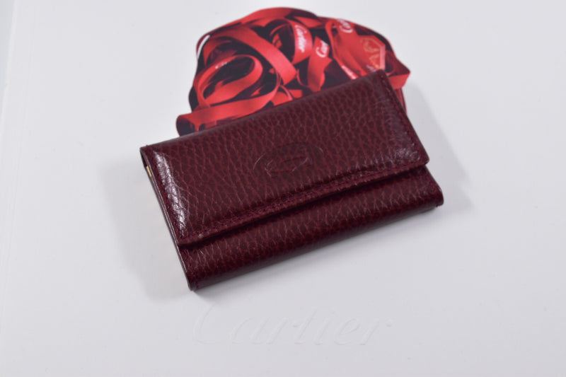 Must de Cartier Leather Burgundy Bordeaux 6 Key Ring Case Holder