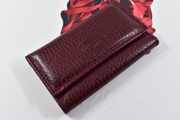 Must de Cartier Leather Burgundy Bordeaux 6 Key Ring Case Holder-Cartier-Truphae