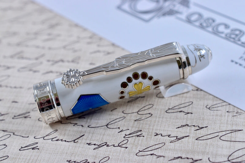 David Oscarson Limited Edition 73 La Sagrada Familia Gaudi White Fountain Pen