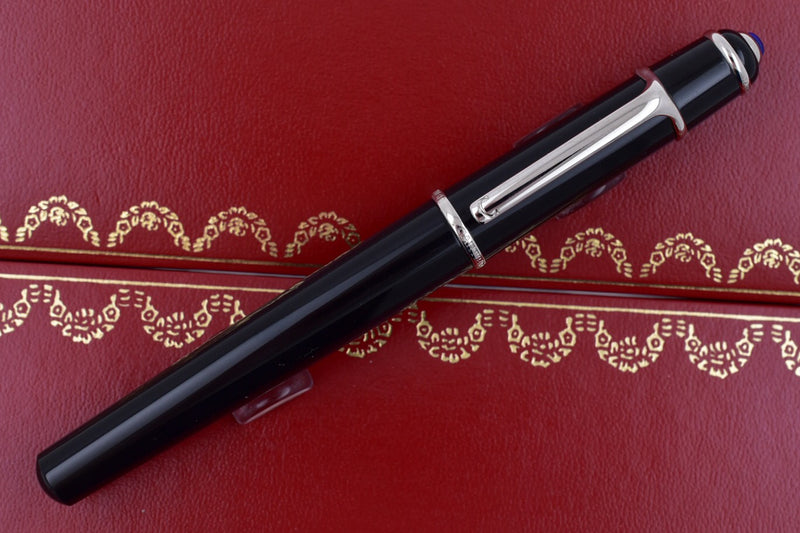 Cartier Mini Diabolo Black Composite Platinum Plated Blue Cabochon Fountain Pen
