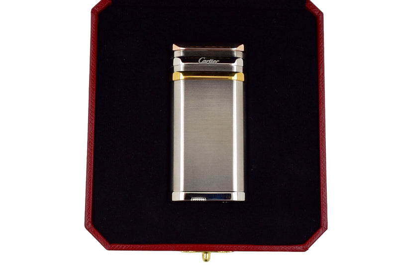 Cartier Trinity Burnished Stainless Steel Red Rose, Yellow & White Gold Lighter