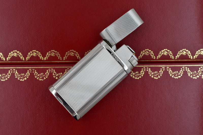 Cartier Stainless Steel Satined Body Striped Pattern Lighter CA120156
