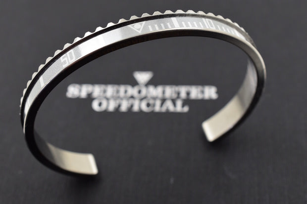 Speedometer Official Silver Steel with Grey Insert Bangle Bracelet-Speedometer Official-Truphae