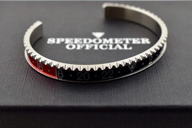 Speedometer Official Silver Steel with Black & Red Insert Bangle Bracelet-Speedometer Official-Truphae