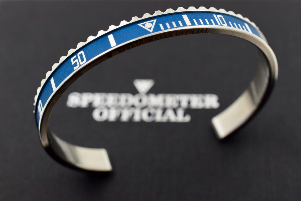 Speedometer Official Silver Steel Vintage Matt Blue & Silver Bangle Bracelet