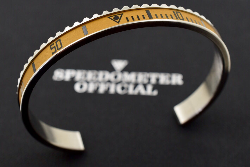 Speedometer Official Silver Steel Vintage Matt Sand Gold Black Bangle Bracelet
