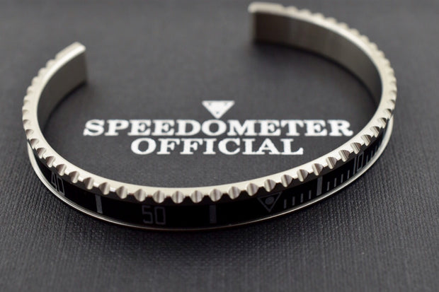 Speedometer Official Silver Steel with Black Insert Bangle Bracelet-Speedometer Official-Truphae