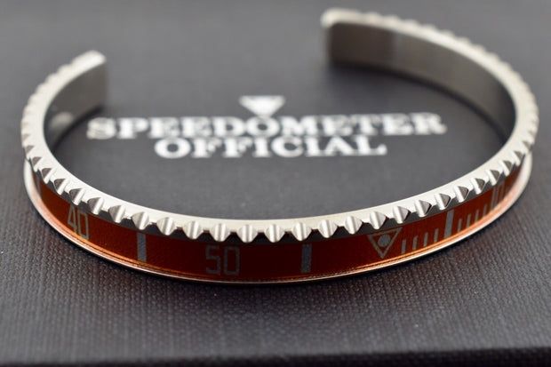 Speedometer Official Silver Steel with Orange Insert Bangle Bracelet-Speedometer Official-Truphae