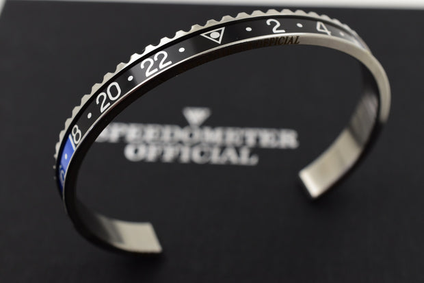 Speedometer Official Silver Steel with Black & Blue Insert Bangle Bracelet-Speedometer Official-Truphae