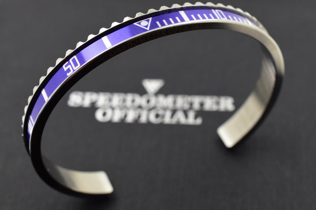 Speedometer Official Silver Steel with Blue Insert Bangle Bracelet-Speedometer Official-Truphae