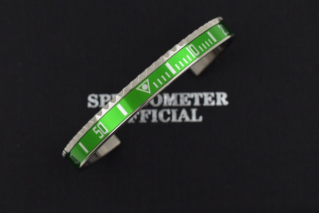 Speedometer Official Silver Steel with Green Insert Bangle Bracelet-Speedometer Official-Truphae
