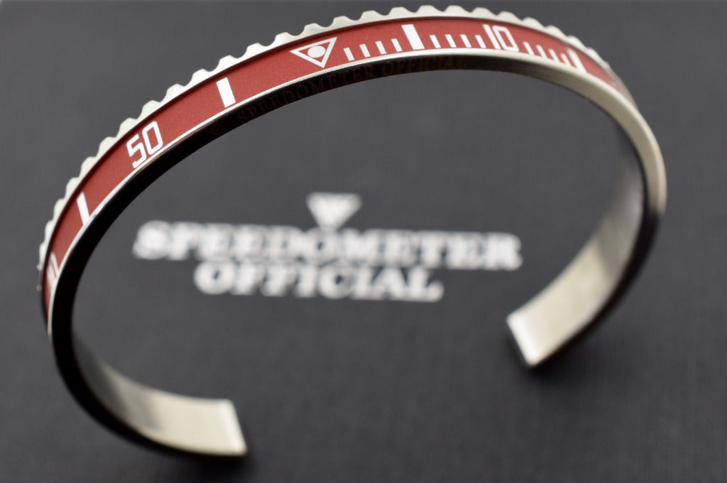 Speedometer Official Silver Steel Vintage Matt Red & Silver Bangle Bracelet