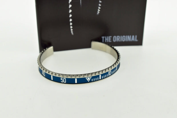 Speedometer Official Silver Steel Vintage Matt Blue & Silver Bangle Bracelet-Speedometer Official-Truphae