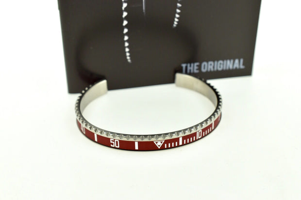 Speedometer Official Silver Steel Vintage Matt Red & Silver Bangle Bracelet-Speedometer Official-Truphae