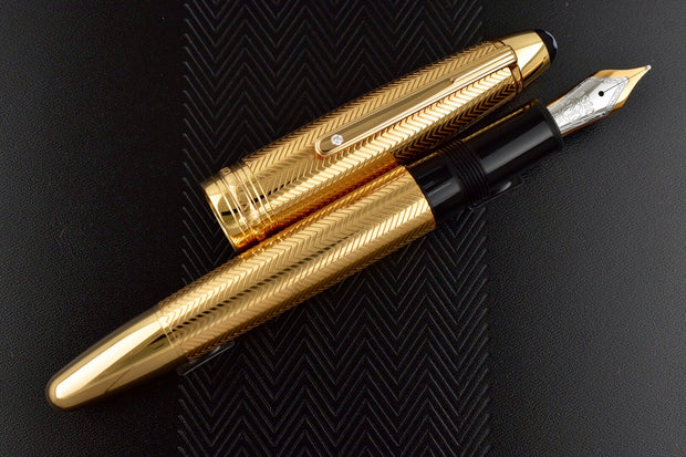 Montblanc Meisterstuck 146 Solid Rose Gold Barley Diamond LeGrand Fountain Pen M Nib