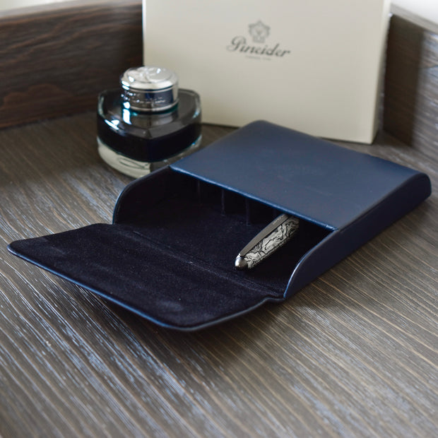 Pineider Blue Leather Pen Case