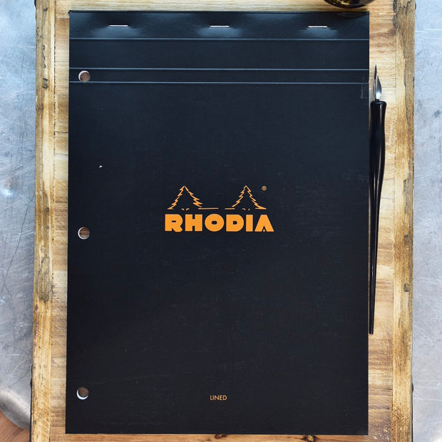 Rhodia No. 18 A4 Black Lined 3 Hole Punch Notepad