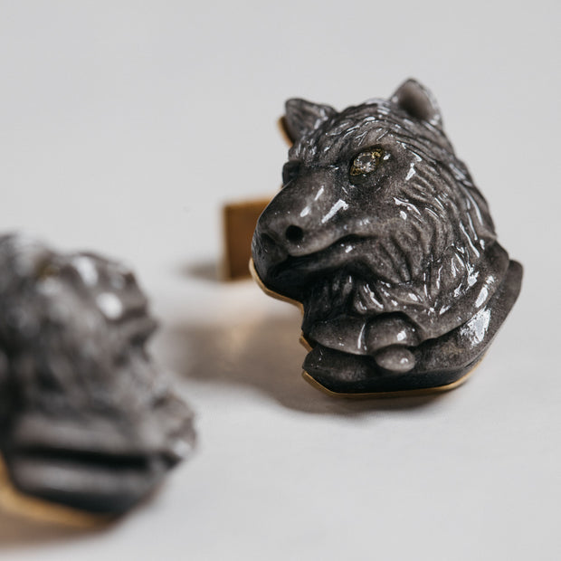 ST Dupont Stones of Fortune Investor Wolf Obsidian Limited Edition Cufflink Set