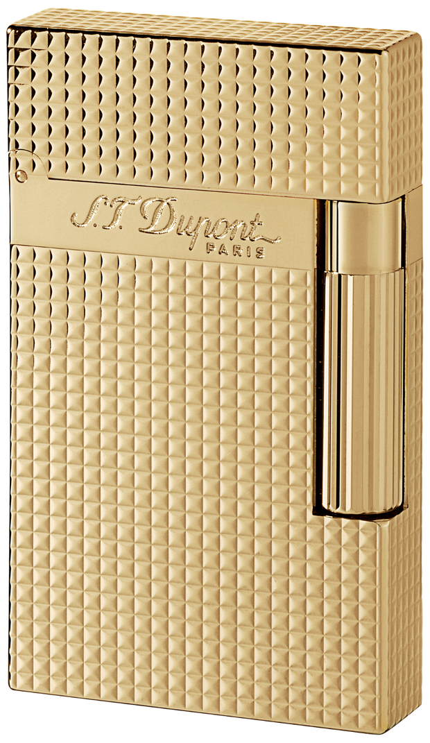 ST Dupont Ligne 2 Yellow Gold Finish Square Pattern Lighter ST016284-ST Dupont-Truphae