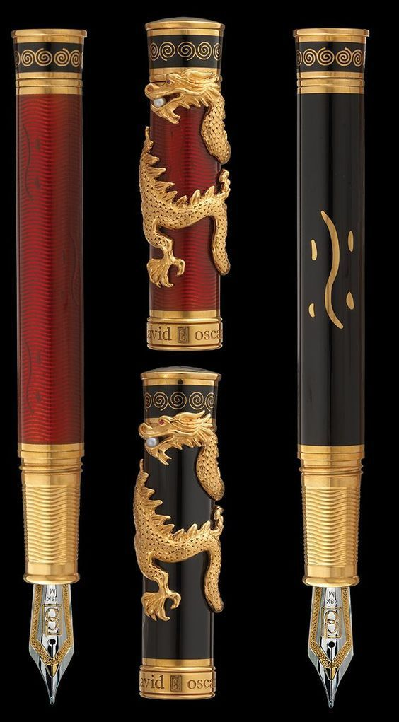 David Oscarson LE 88 Black Water Dragon Black & Red Fountain Pen Matching # Set!-David Oscarson-Truphae