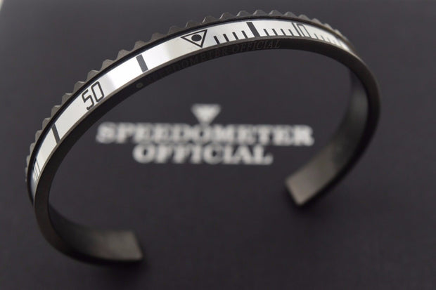 Speedometer Official Black Steel with Grey Insert Bangle Bracelet-Speedometer Official-Truphae
