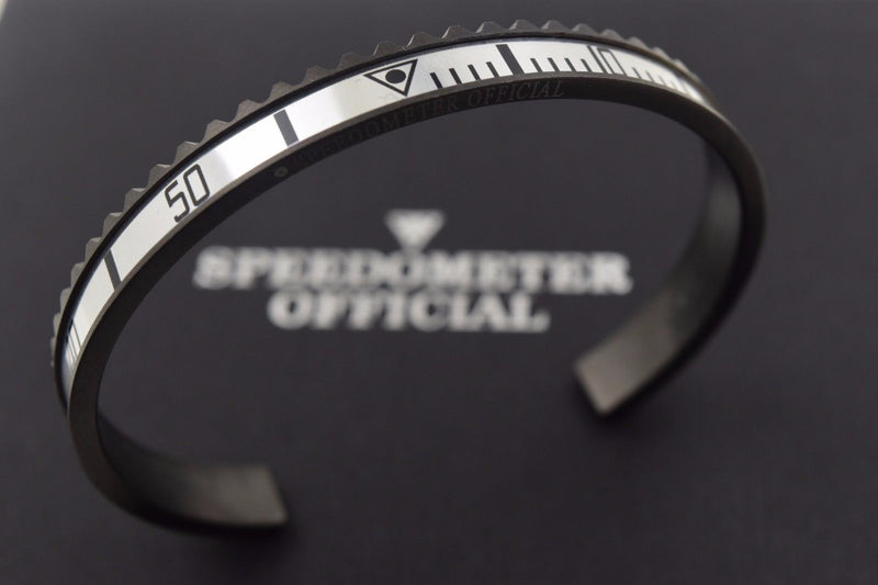 Speedometer Official Black Steel with Grey Insert Bangle Bracelet