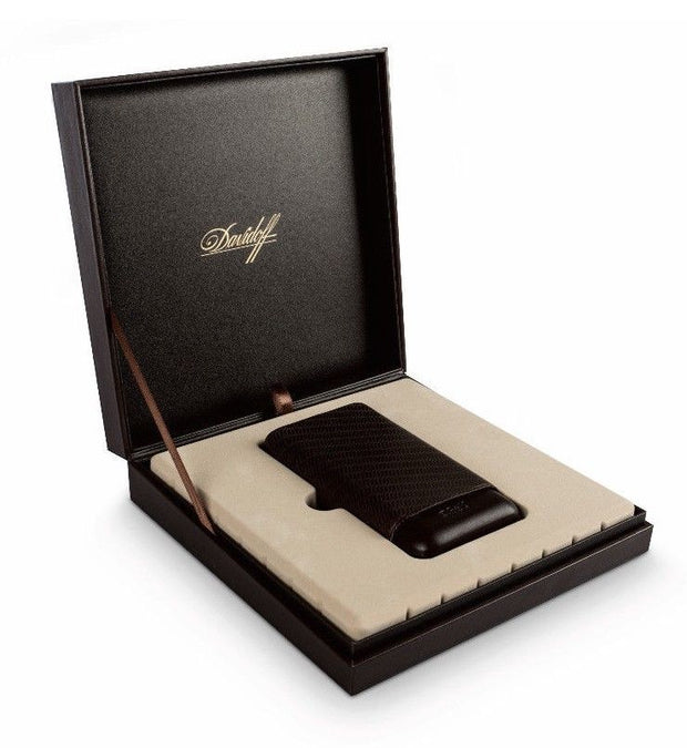 Davidoff Black Leather Leaf Pattern R-2 Robusto Double Two Cigar Case 105582
