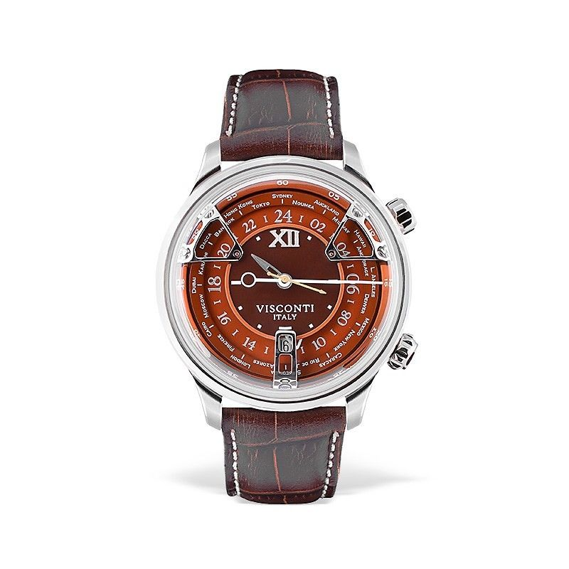 Visconti Italy Opera GMT Stainless Steel with Orange Dial 43.5mm Automatic Watch