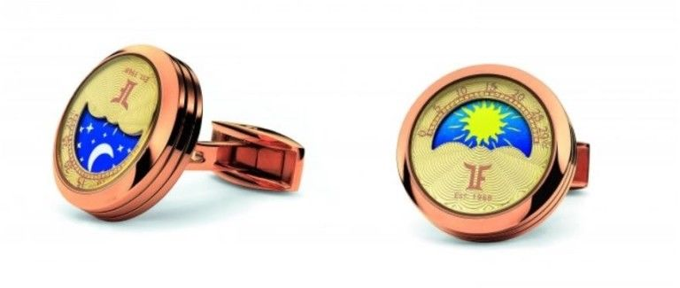 TF Est 1968 MoonPhase Rose Gold Steel Rotating Night & Day Disk Cufflinks Set