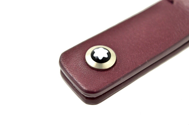 Montblanc Diaries & Notes Key Fob Split Rings Burgundy Red Leather Keyring