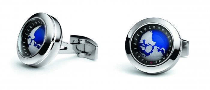 TF Est 1968 Globe Stainless Steel with Inner Rotating Earth Ball Cufflinks Set