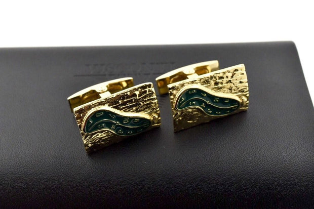 Visconti Special Edition Salvador Dali Green Enamel & Gold Plated Cufflinks-Visconti-Truphae