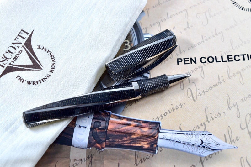 Visconti Divina Metropolitan Grey Celluloid & Sterling Silver Rollerball Pen