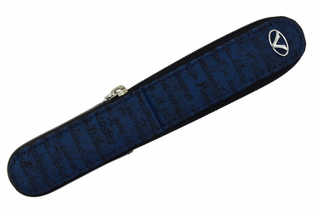 Visconti Black Italian Leather & Silk Blue One Pen Zip Case-Visconti-Truphae