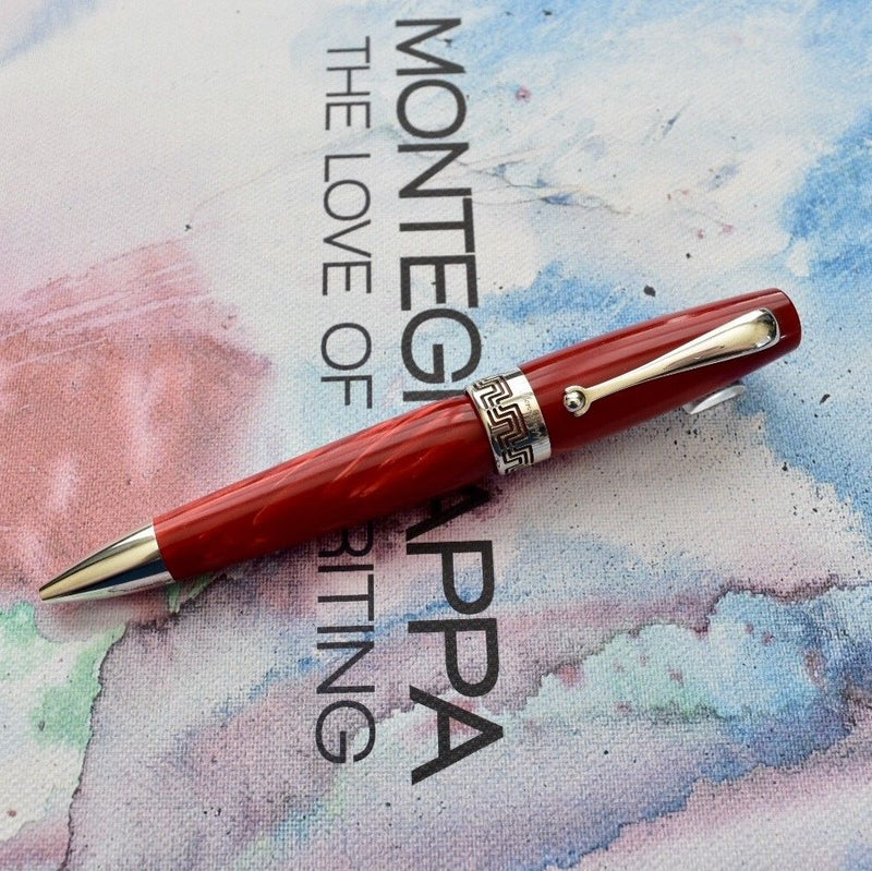 Montegrappa Miya Bright Red Celluloid & Sterling Silver Trim Ballpoint Pen