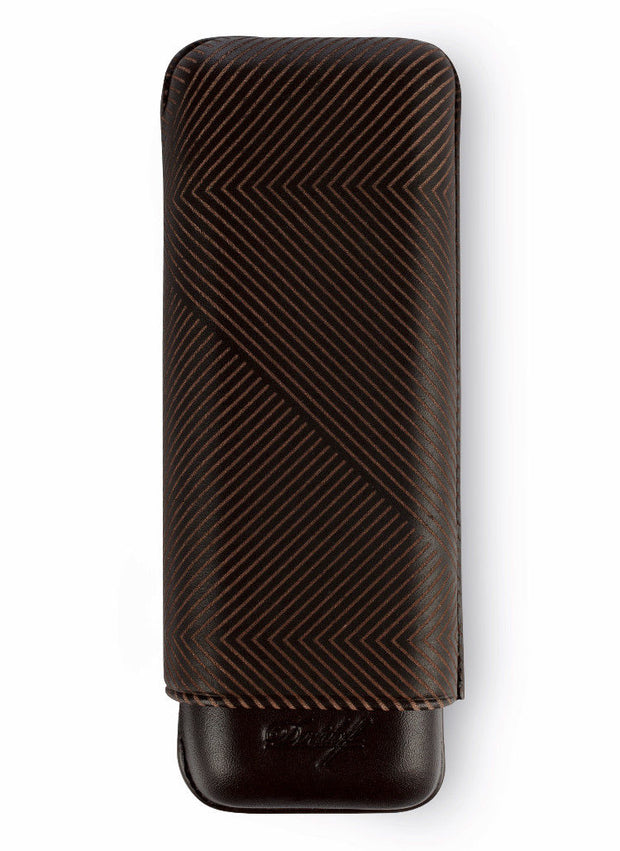 Davidoff Brown Leather Leaf Pattern XL-2 Double Two Cigar Case 105584