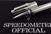 Speedometer Official Silver Steel with Black & White Spare Ring Rollerball Pen-Speedometer Official-Truphae