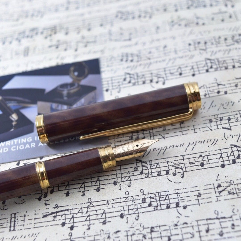 Waterman Gentleman Tobacco Brown Marble Lacquer & Gold Plated Trim Fountain Pen