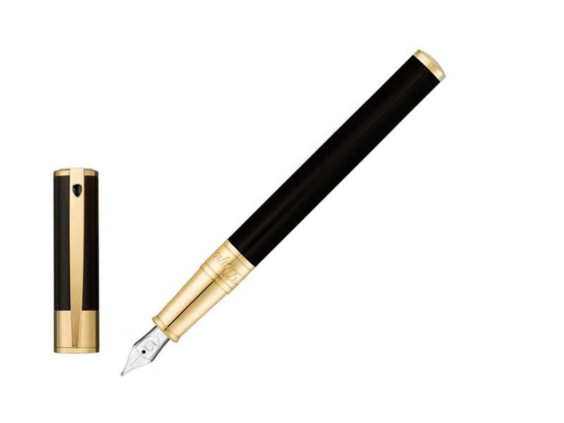 ST Dupont D-Initial Black & Yellow Gold Finish Fountain Pen ST260205