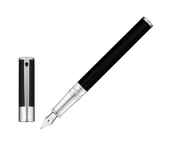 ST Dupont D-Initial Black & Chrome Finish Fountain Pen ST260203