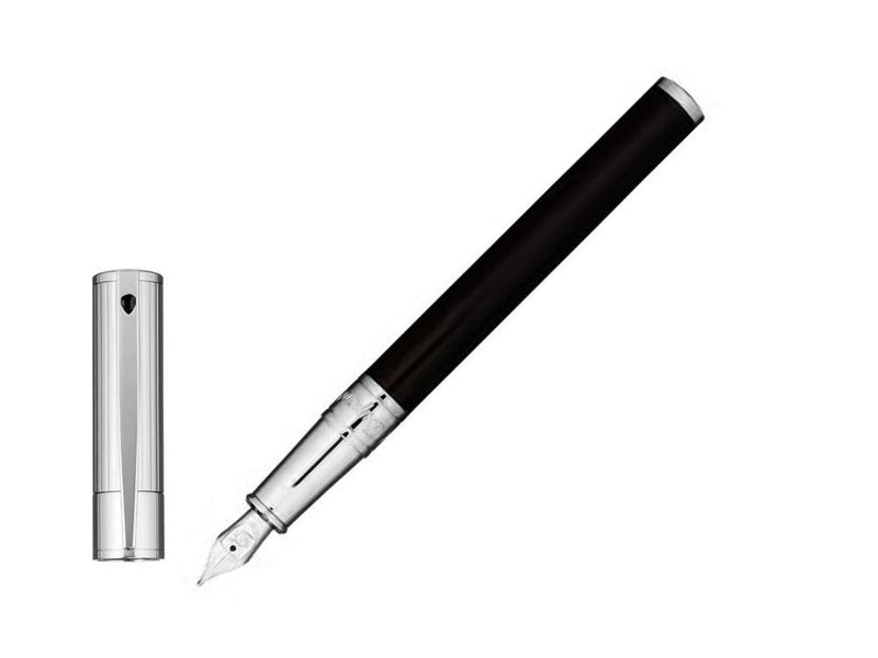ST Dupont D-Initial Black & Chrome Cap Finish Fountain Pen ST260204