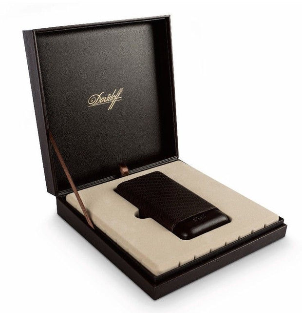 Davidoff Brown Leather Curing Pattern XL-2 Double Two Cigar Case 105587-Davidoff-Truphae