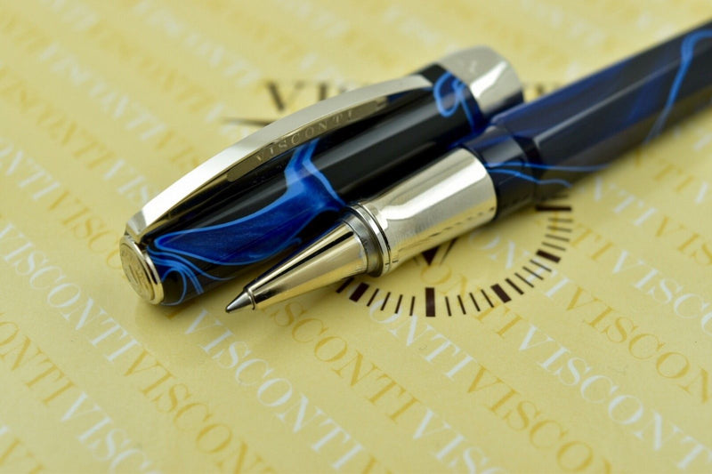 Visconti Vertigo Black & Blue Swirl Pattern & Palladium Trim Rollerball Pen