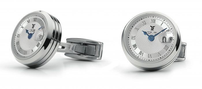 TF Est 1968 Big Date Shiny Stainless Steel with Rotating Big Date Cufflinks Set