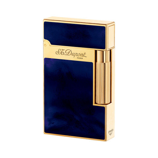ST Dupont Atelier Blue & Yellow Gold Finish Natural Lacquer Lighter ST016134-ST Dupont-Truphae