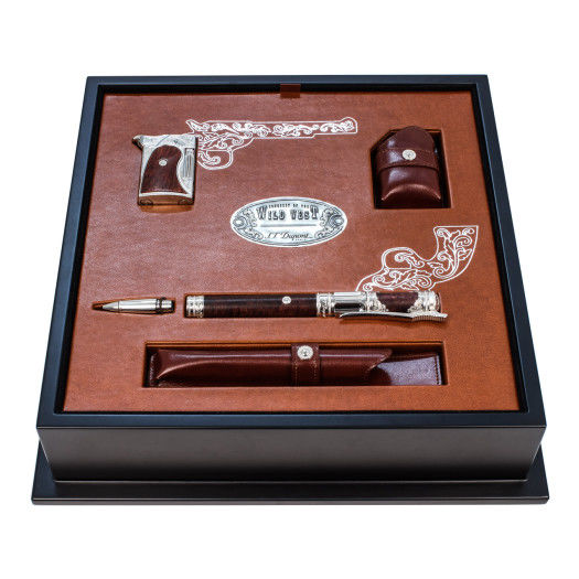 ST Dupont Ligne 2 Conquest of the Wild West Heather Wood Fountain Pen & Lighter-ST Dupont-Truphae